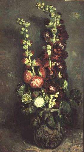 Vase of Hollyhocks