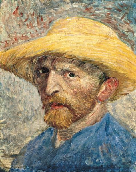 Self Portrait - Vincent Van Gogh en reproducción impresa o copia al óleo sobre lienzo.