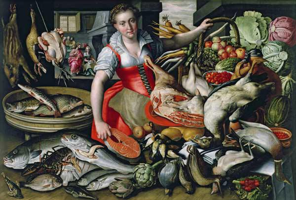 Martha preparing the meal for Jesus or Jesus at the House of Martha and Mary