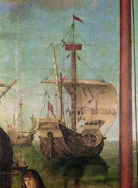The Meeting and Departure of the Betrothed, from the St. Ursula Cycle, detail of a ship, 1490-96 (oi