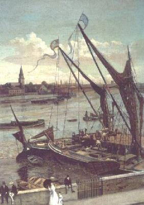 Unloading the Barge, Lindsay Jetty and Battersea Church