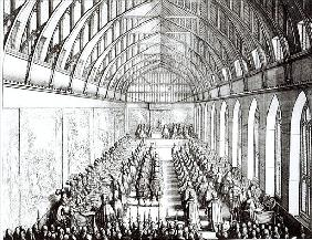 Garter Feast in St. George''s Hall, Windsor, in the time of Charles II