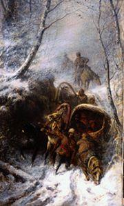Cossacks with horse-drawn sleighs in a narrow pass