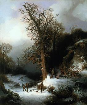 Hunting scene in a winter landscape.