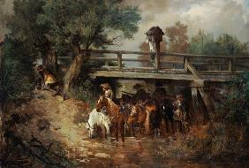 Mounted soldiers in the 30-year war under a bridge