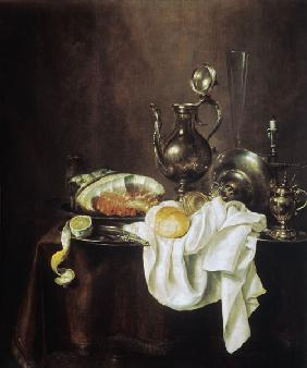 Still Life of Ham and Silver Plate