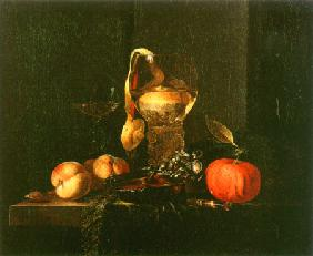 Still life with a silbener bowl, glasses and fruit