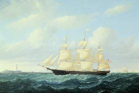 'Dashing Wave' clipper ship off Boston Light