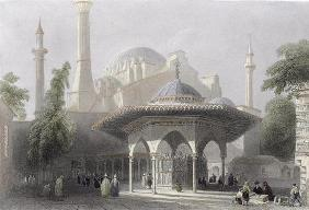 Court and Fountain of St. Sophia, Istanbul, engraved by J. Redaway, c.1850 (aquatint)
