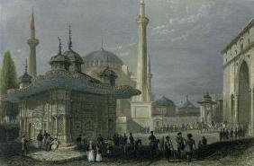 Fountain and Square of St. Sophia, Istanbul, engraved by T. Higham, c.1850 (aquatint)