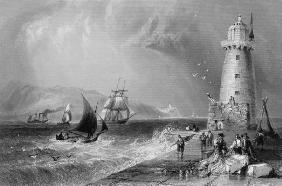 South Wall Lighthouse with Howth Hill in the Distance, Dublin, from 'Scenery and Antiquities of Irel