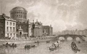 The Four Law Courts, Dublin, engraved by Owen (engraving)