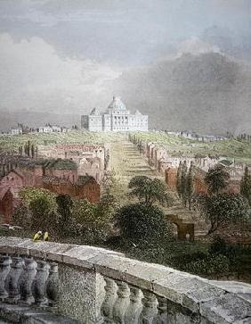 View of the Capitol from the White House in 1840 (coloured engraving)