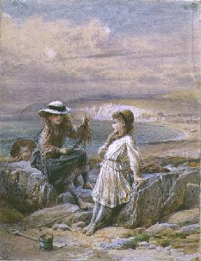 Two Girls and a Boy with Seaweed