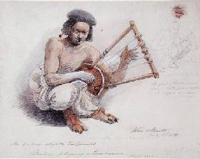 Nubian Playing Tambourine