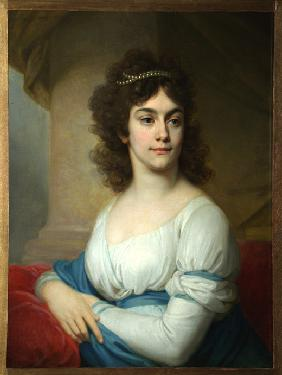 Portrait of an Unknown Woman in white gown with blue ribbon